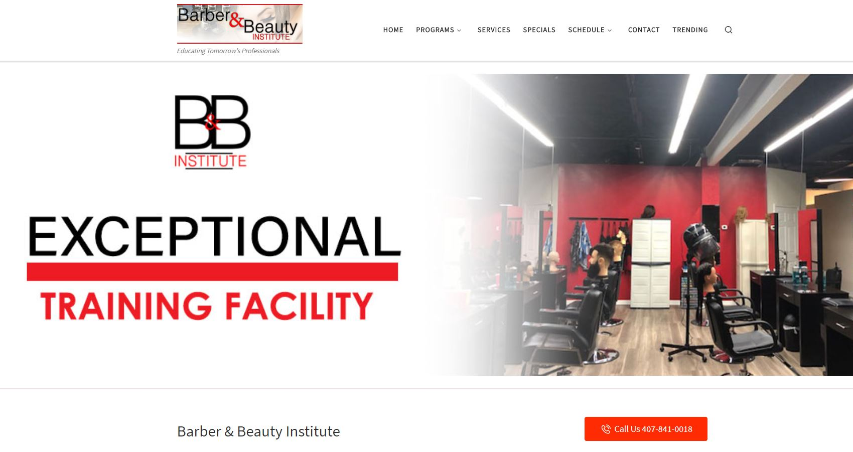 DesignDiva Sample - Website - BarberBeautyInstitute
