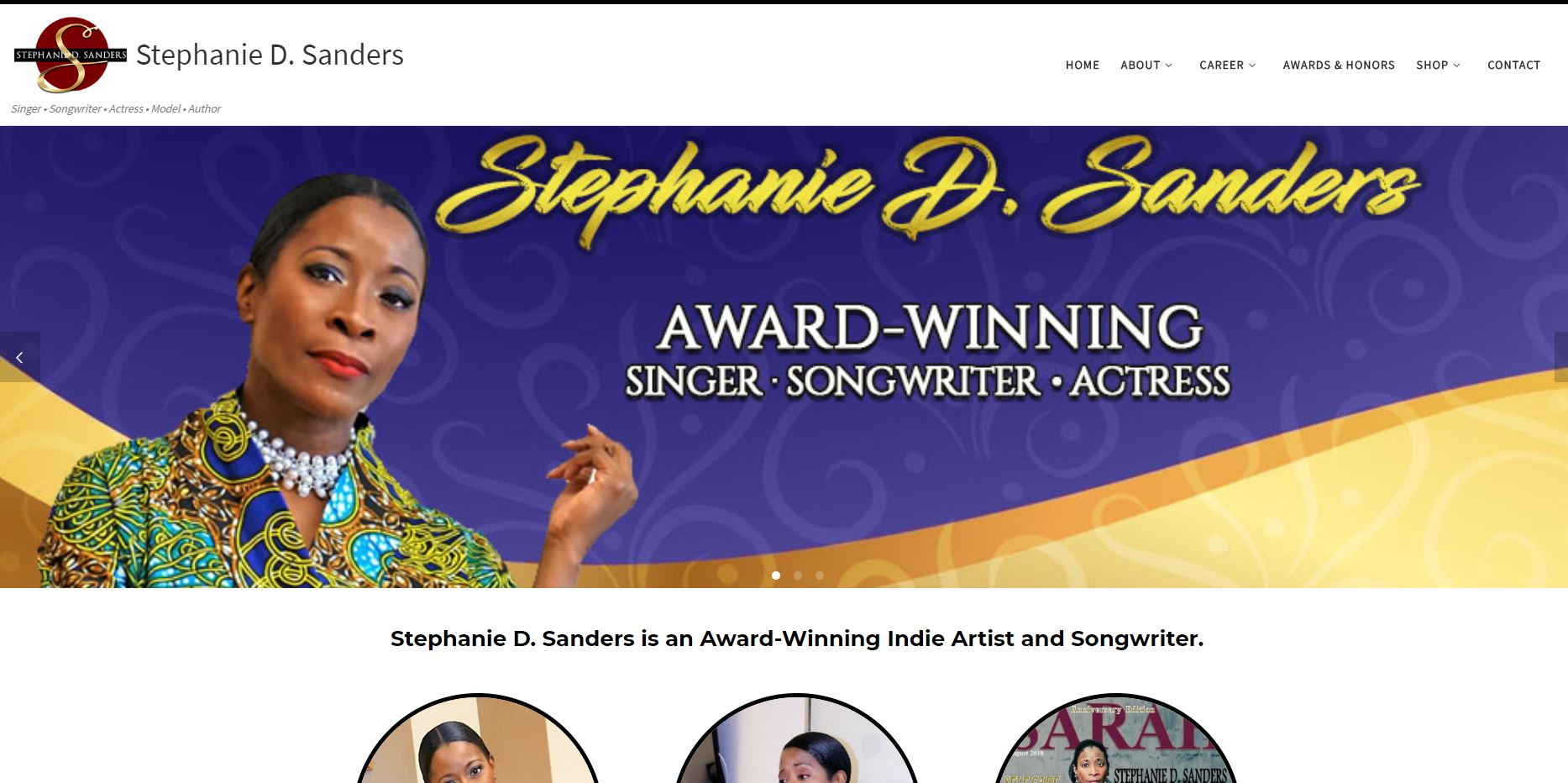 Website for Stephanie D. Sanders