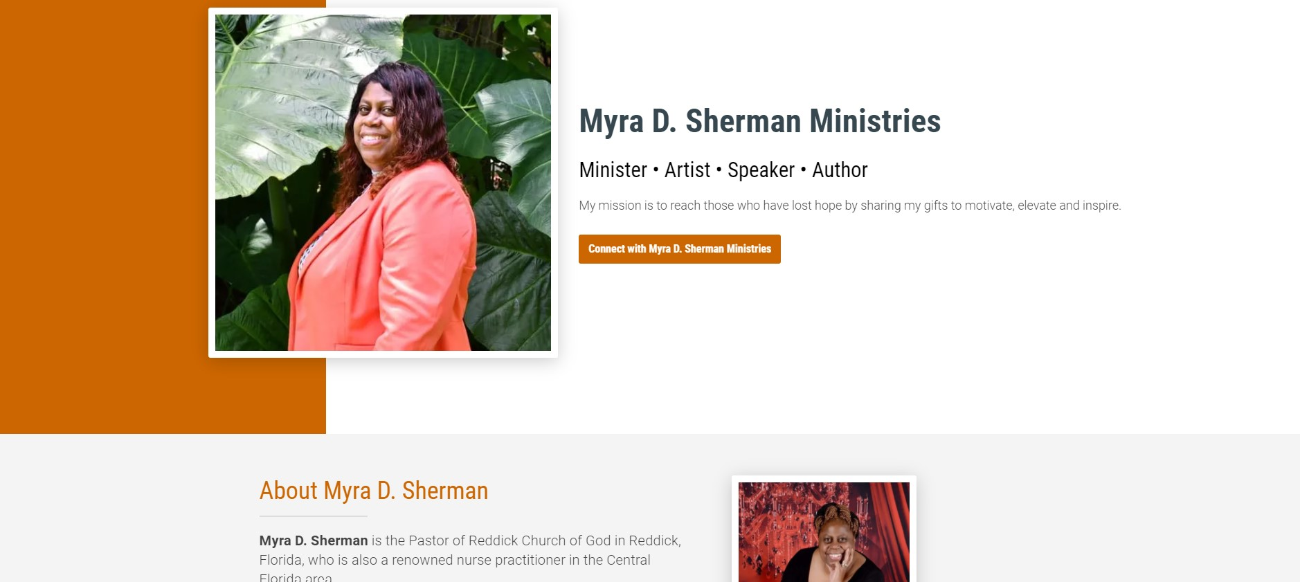 Landing Page for Myra D. Sherman Ministries
